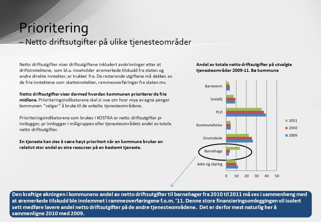 Prioritering – Netto driftsutgifter på ulike tjenesteområder Netto driftsutgifter viser driftsutgiftene inkludert avskrivninger etter at driftsinntektene, som bl.a.