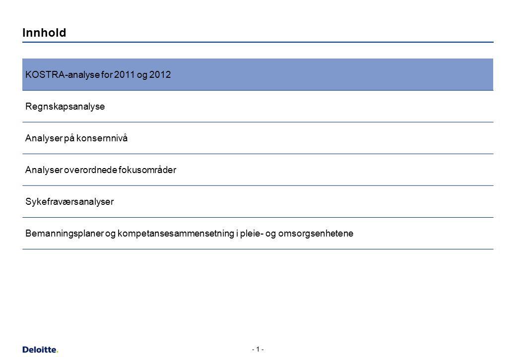 Innhold KOSTRA-analyse for 2011 og 2012 Regnskapsanalyse Analyser på konsernnivå Analyser overordnede fokusområder Sykefraværsanalyser Bemanningsplaner og kompetansesammensetning i pleie- og omsorgsenhetene - 1 -