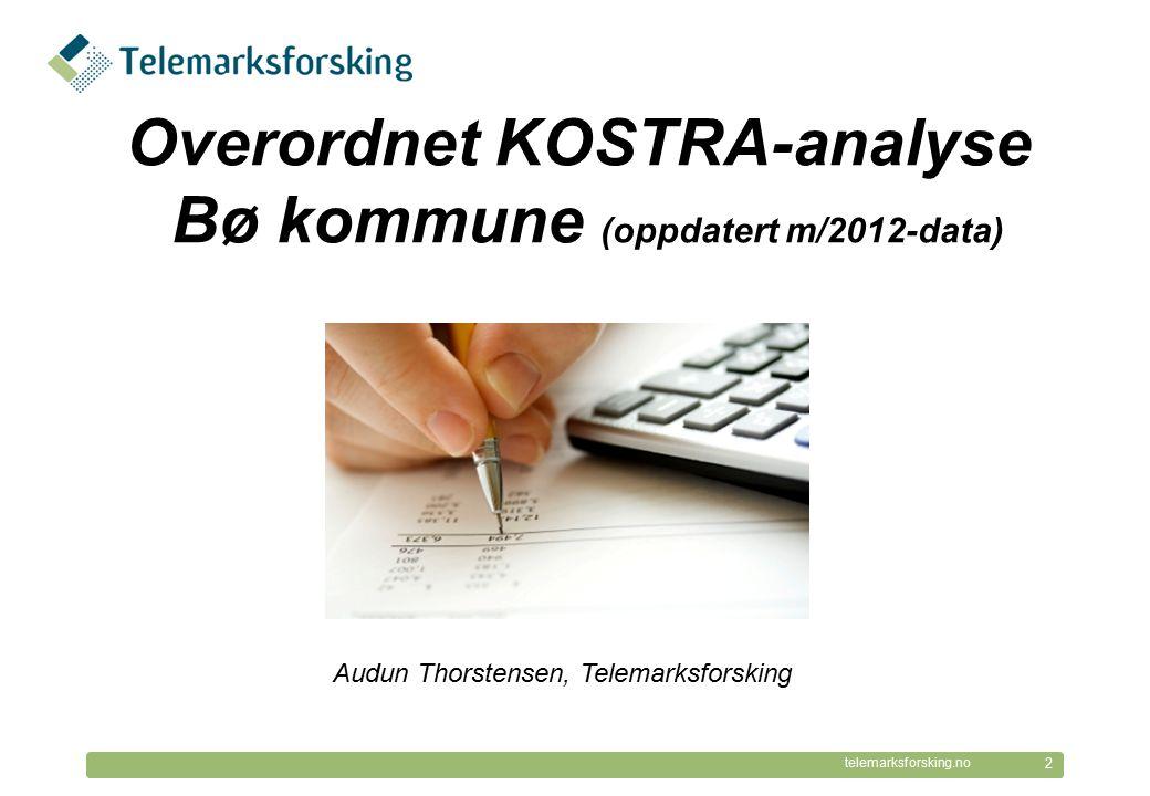 © Telemarksforsking telemarksforsking.no Økonomiske rammebetingelser Bø er en lavinntektskommune Utgiftskorrigerte frie inntekter på 97 % av landsgjennomsnittet (2011).