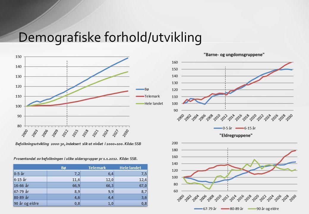 Demografiske forhold/utvikling Befolkningsutvikling 2000-30, indeksert slik at nivået i 2000=100. Kilde: SSB Prosentandel av befolkningen i ulike alde