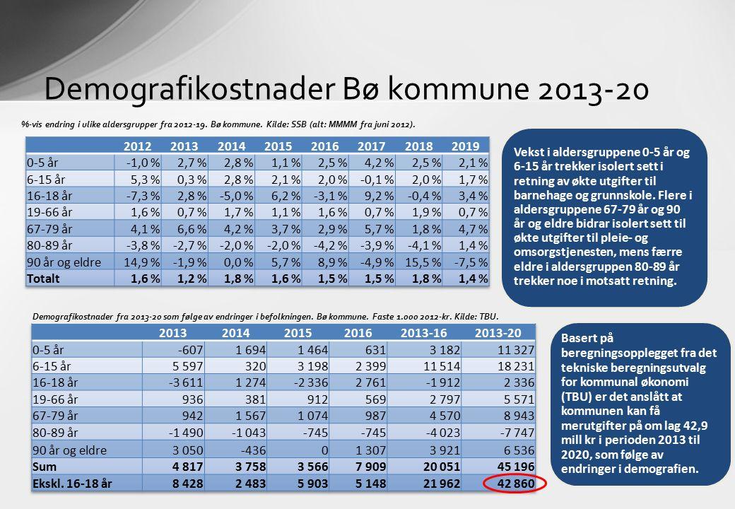 Demografikostnader Bø kommune 2013-20 %-vis endring i ulike aldersgrupper fra 2012-19. Bø kommune. Kilde: SSB (alt: MMMM fra juni 2012). Demografikost