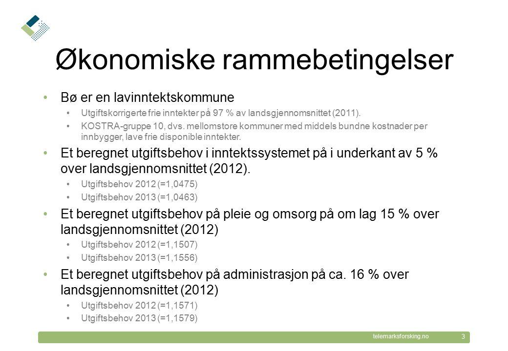 © Telemarksforsking telemarksforsking.no Økonomiske rammebetingelser Bø er en lavinntektskommune Utgiftskorrigerte frie inntekter på 97 % av landsgjen