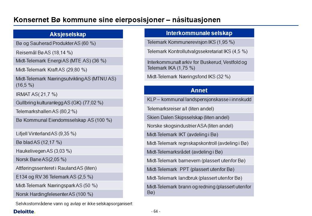 Konsernet Bø kommune sine eierposisjoner – nåsituasjonen Aksjeselskap Bø og Sauherad Produkter AS (60 %) Reisemål Bø AS (18,14 %) Midt-Telemark Energi