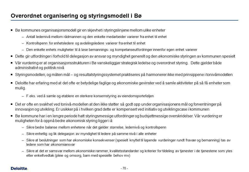 Overordnet organisering og styringsmodell i Bø  Bø kommunes organisasjonsmodell gir en skjevhet i styringslinjene mellom ulike enheter –Antall ledern