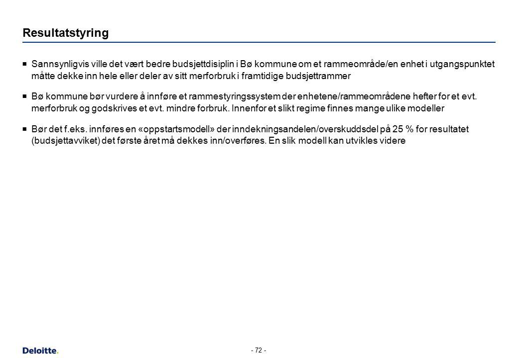 Resultatstyring  Sannsynligvis ville det vært bedre budsjettdisiplin i Bø kommune om et rammeområde/en enhet i utgangspunktet måtte dekke inn hele el