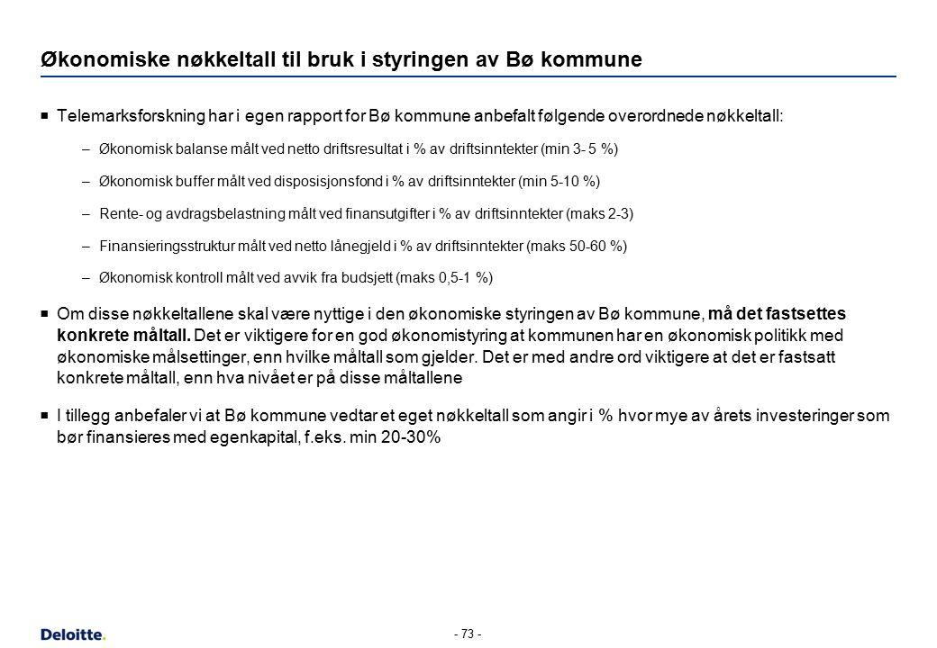 Økonomiske nøkkeltall til bruk i styringen av Bø kommune  Telemarksforskning har i egen rapport for Bø kommune anbefalt følgende overordnede nøkkeltall: –Økonomisk balanse målt ved netto driftsresultat i % av driftsinntekter (min 3- 5 %) –Økonomisk buffer målt ved disposisjonsfond i % av driftsinntekter (min 5-10 %) –Rente- og avdragsbelastning målt ved finansutgifter i % av driftsinntekter (maks 2-3) –Finansieringsstruktur målt ved netto lånegjeld i % av driftsinntekter (maks 50-60 %) –Økonomisk kontroll målt ved avvik fra budsjett (maks 0,5-1 %)  Om disse nøkkeltallene skal være nyttige i den økonomiske styringen av Bø kommune, må det fastsettes konkrete måltall.