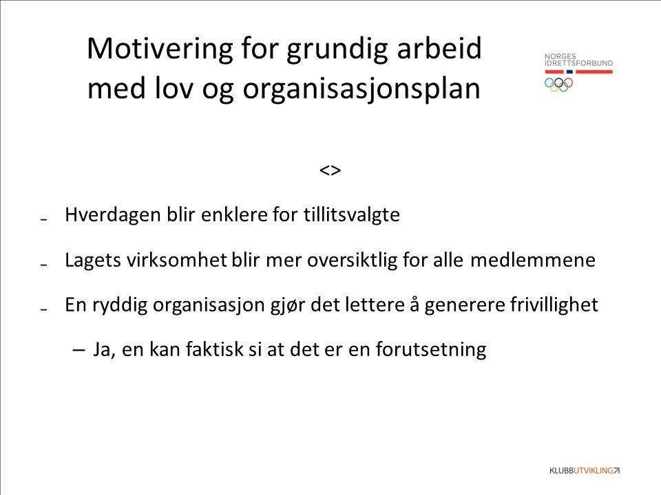 Motivering for grundig arbeid med lov og organisasjonsplan <> ₋Hverdagen blir enklere for tillitsvalgte ₋Lagets virksomhet blir mer oversiktlig for alle medlemmene ₋En ryddig organisasjon gjør det lettere å generere frivillighet – Ja, en kan faktisk si at det er en forutsetning