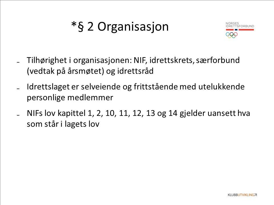 *§ 2 Organisasjon ₋Tilhørighet i organisasjonen: NIF, idrettskrets, særforbund (vedtak på årsmøtet) og idrettsråd ₋Idrettslaget er selveiende og frittstående med utelukkende personlige medlemmer ₋NIFs lov kapittel 1, 2, 10, 11, 12, 13 og 14 gjelder uansett hva som står i lagets lov