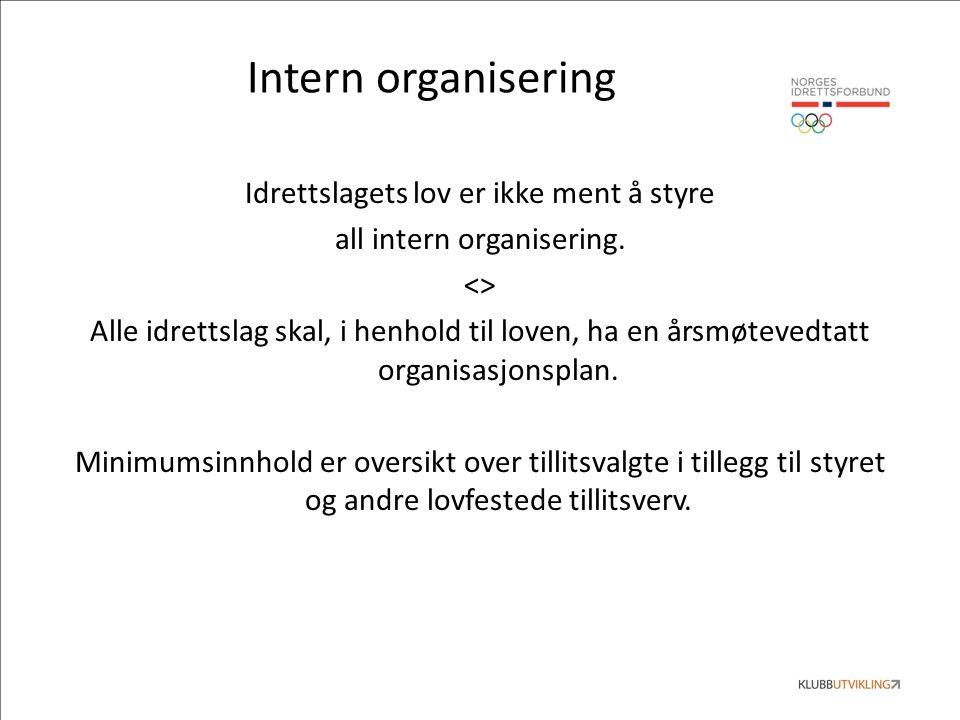 Intern organisering Idrettslagets lov er ikke ment å styre all intern organisering.