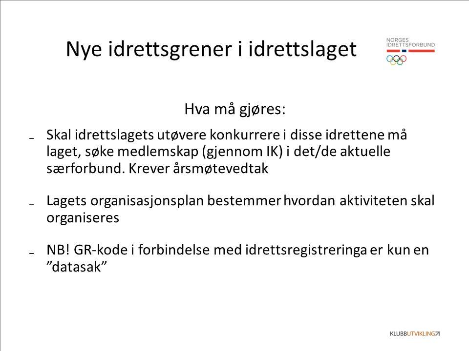 Nye idrettsgrener i idrettslaget Hva må gjøres: ₋Skal idrettslagets utøvere konkurrere i disse idrettene må laget, søke medlemskap (gjennom IK) i det/de aktuelle særforbund.