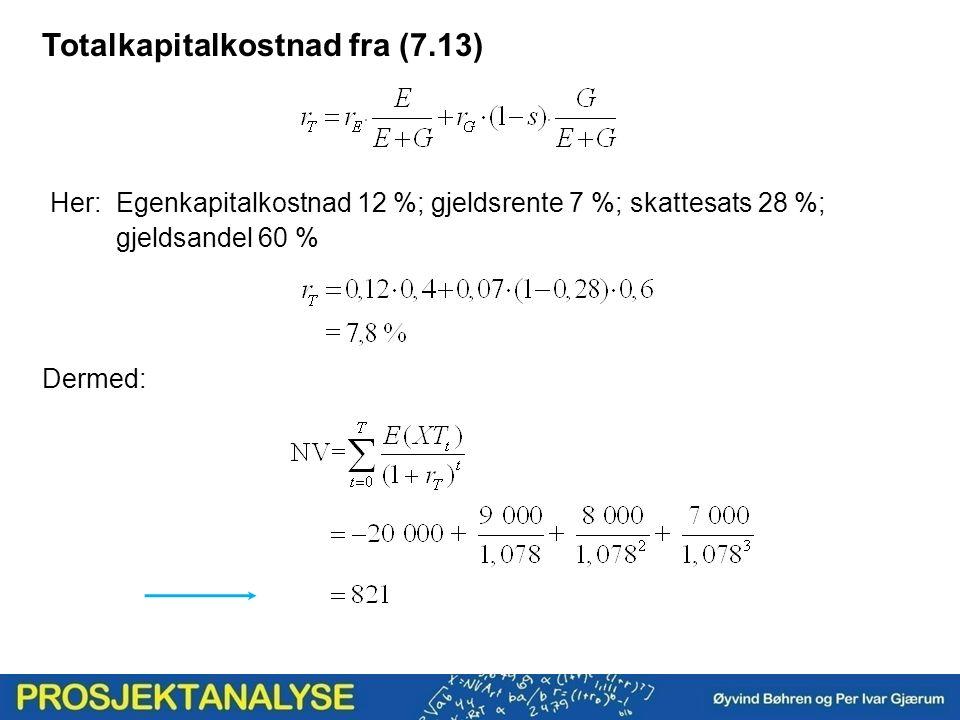 Totalkapitalkostnad fra (7.13) Her: Egenkapitalkostnad 12 %; gjeldsrente 7 %; skattesats 28 %; gjeldsandel 60 % Dermed: