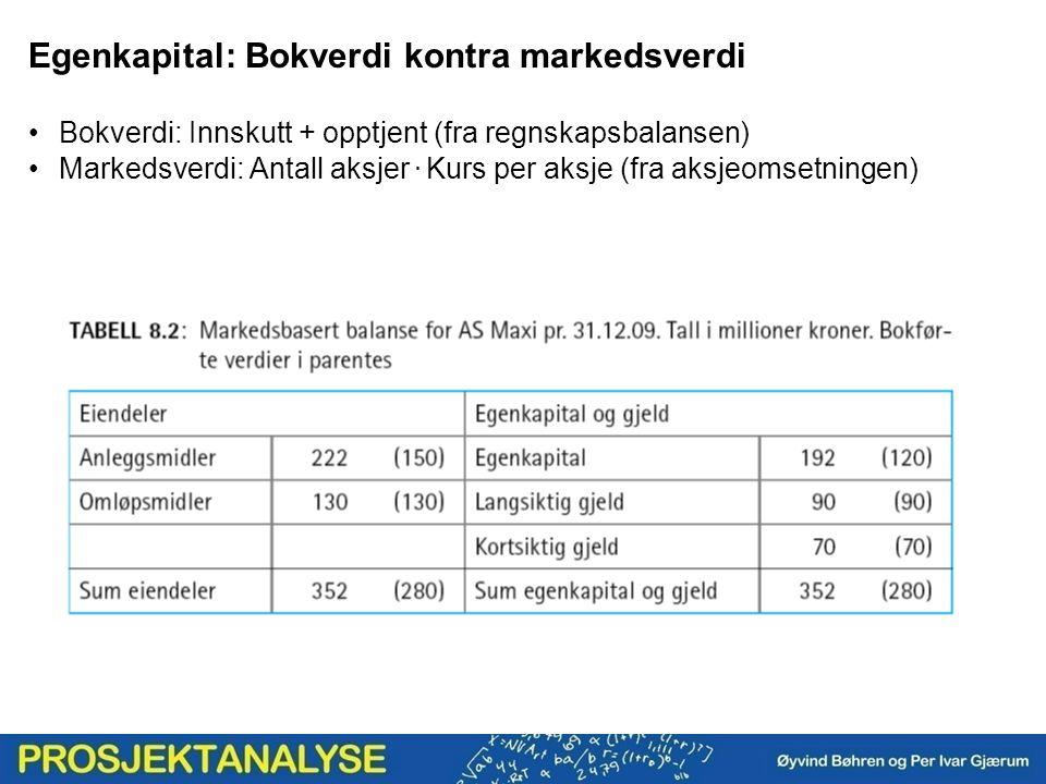 Egenkapital: Bokverdi kontra markedsverdi Bokverdi: Innskutt + opptjent (fra regnskapsbalansen) Markedsverdi: Antall aksjer. Kurs per aksje (fra aksje