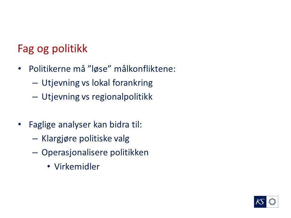 Fag og politikk Politikerne må løse målkonfliktene: – Utjevning vs lokal forankring – Utjevning vs regionalpolitikk Faglige analyser kan bidra til: – Klargjøre politiske valg – Operasjonalisere politikken Virkemidler
