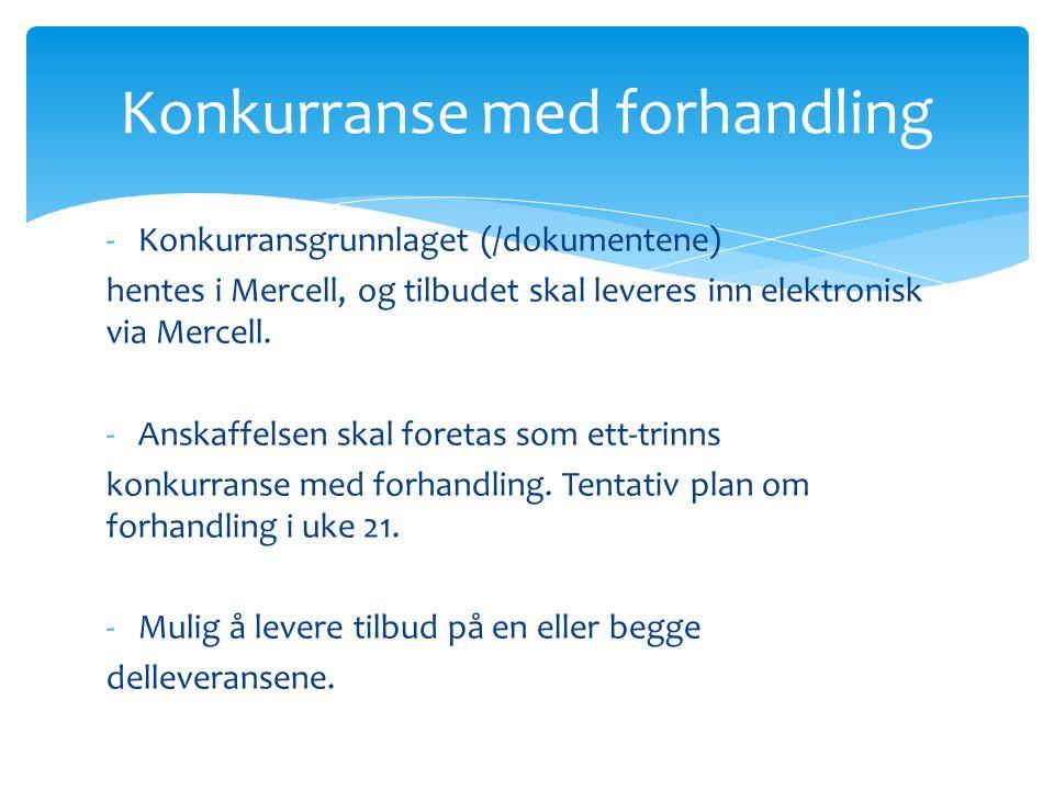 -Konkurransgrunnlaget (/dokumentene) hentes i Mercell, og tilbudet skal leveres inn elektronisk via Mercell.