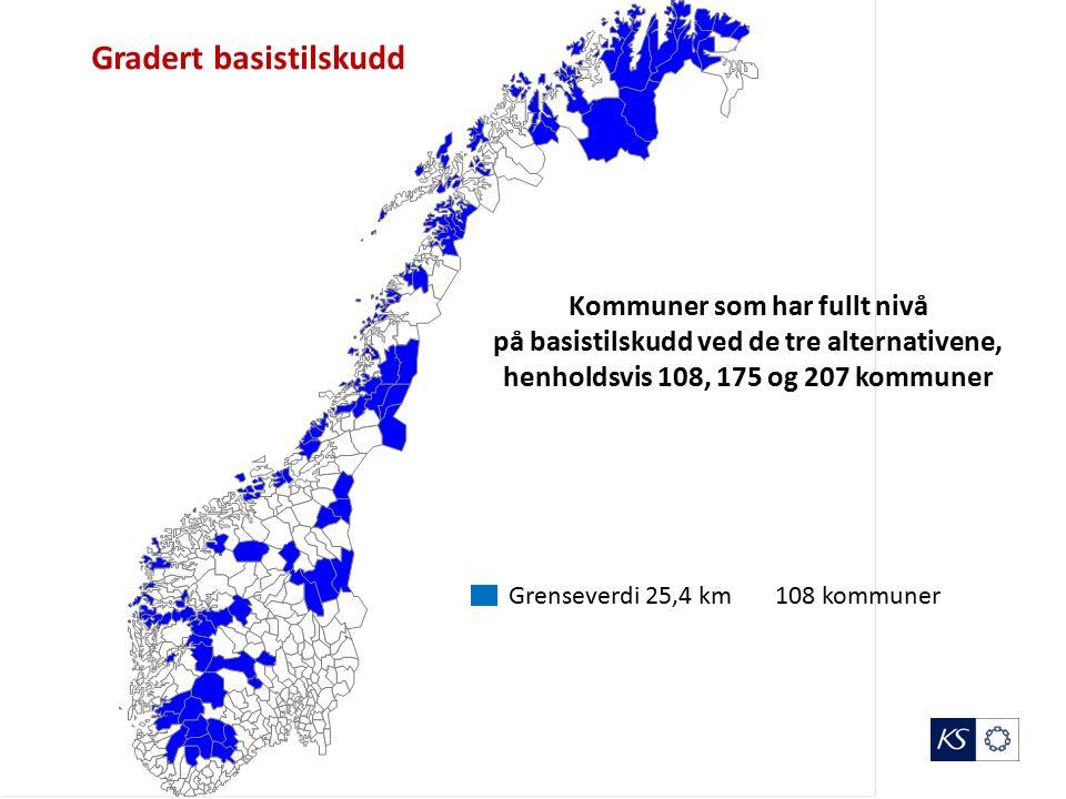 Grenseverdi 25,4 km 108 kommuner Gradert basistilskudd Kommuner som har fullt nivå på basistilskudd ved de tre alternativene, henholdsvis 108, 175 og 207 kommuner