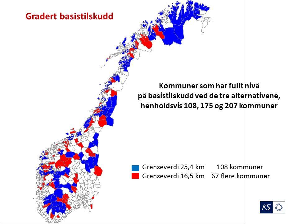 Grenseverdi 25,4 km 108 kommuner Grenseverdi 16,5 km 67 flere kommuner Gradert basistilskudd Kommuner som har fullt nivå på basistilskudd ved de tre alternativene, henholdsvis 108, 175 og 207 kommuner
