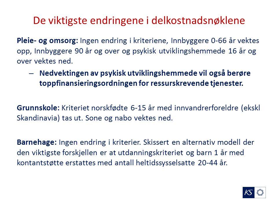 De viktigste endringene i delkostnadsnøklene Pleie- og omsorg: Ingen endring i kriteriene, Innbyggere 0-66 år vektes opp, Innbyggere 90 år og over og psykisk utviklingshemmede 16 år og over vektes ned.