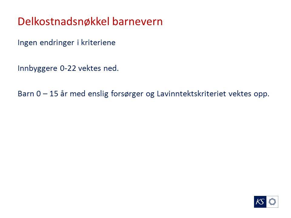 Delkostnadsnøkkel barnevern Ingen endringer i kriteriene Innbyggere 0-22 vektes ned.