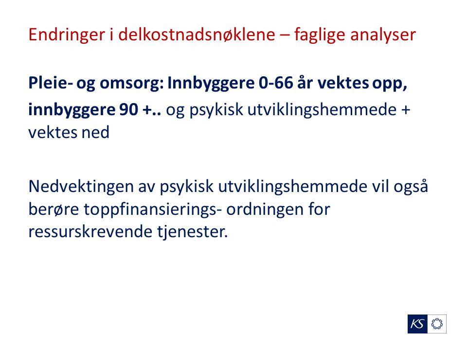 Endringer i delkostnadsnøklene – faglige analyser Pleie- og omsorg: Innbyggere 0-66 år vektes opp, innbyggere 90 +..