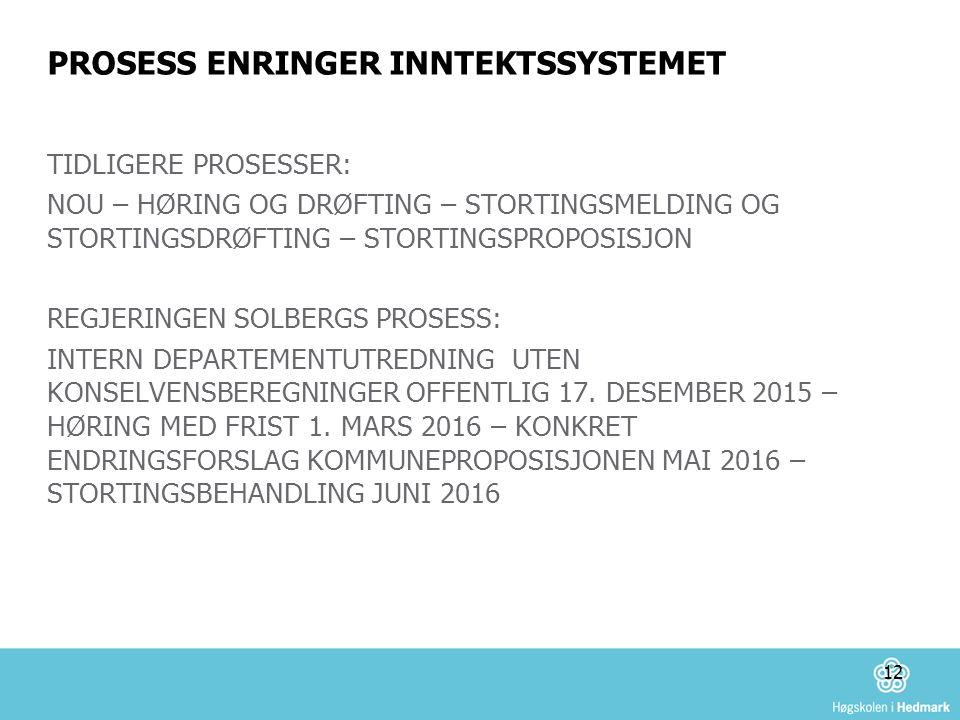 PROSESS ENRINGER INNTEKTSSYSTEMET TIDLIGERE PROSESSER: NOU – HØRING OG DRØFTING – STORTINGSMELDING OG STORTINGSDRØFTING – STORTINGSPROPOSISJON REGJERINGEN SOLBERGS PROSESS: INTERN DEPARTEMENTUTREDNING UTEN KONSELVENSBEREGNINGER OFFENTLIG 17.