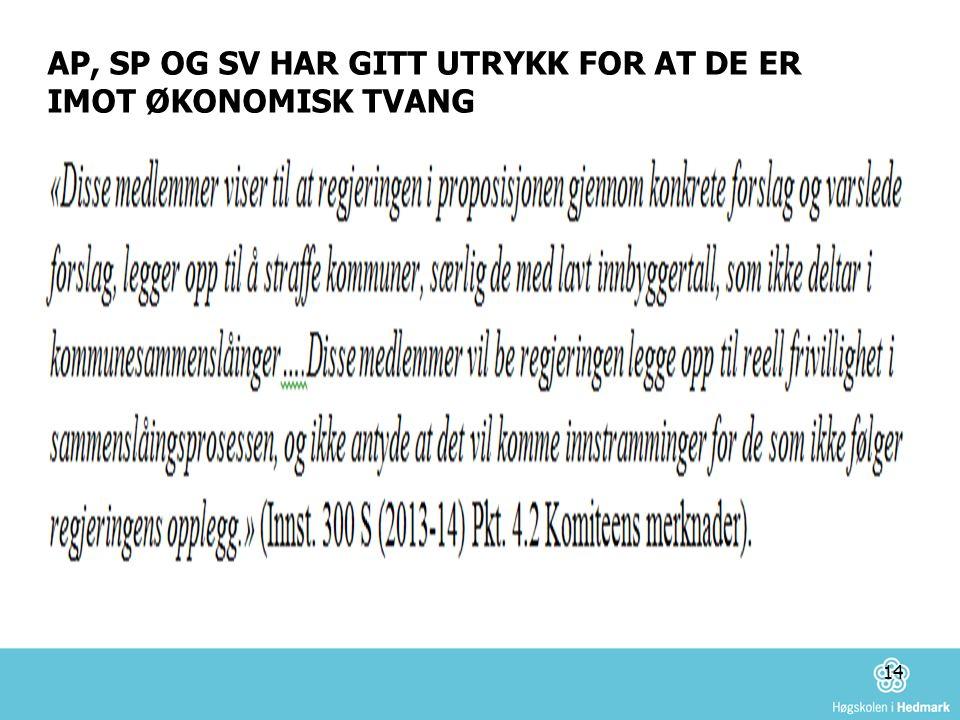 AP, SP OG SV HAR GITT UTRYKK FOR AT DE ER IMOT ØKONOMISK TVANG 14