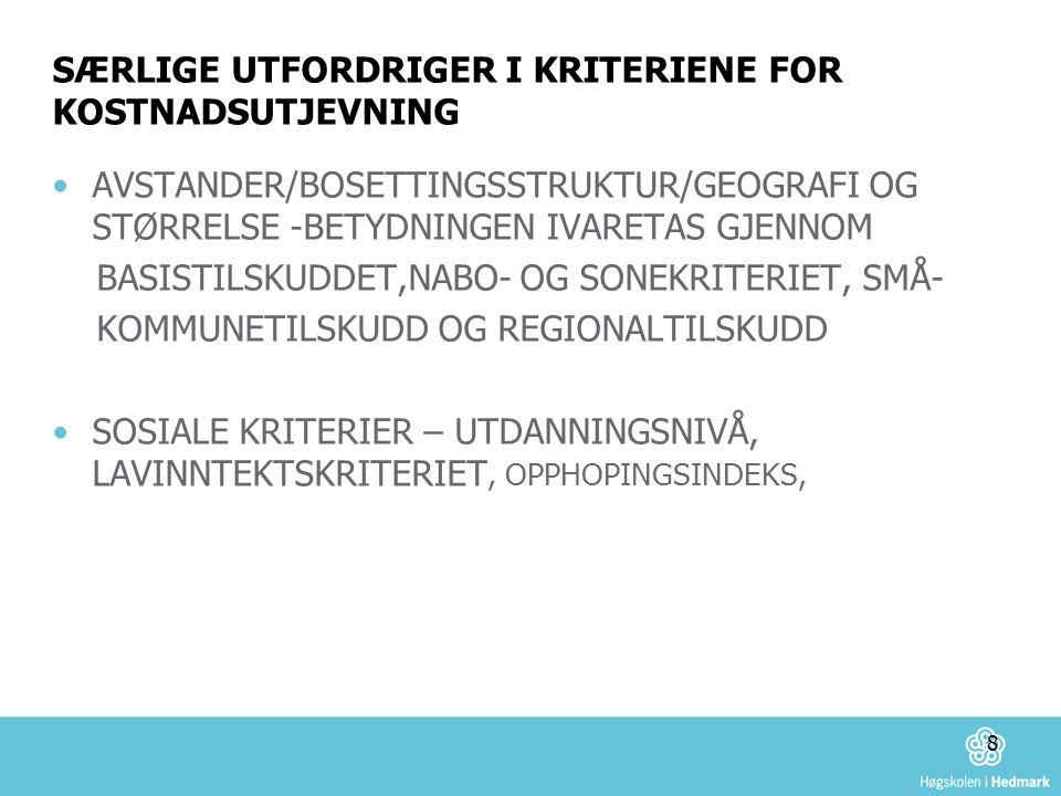 SÆRLIGE UTFORDRIGER I KRITERIENE FOR KOSTNADSUTJEVNING AVSTANDER/BOSETTINGSSTRUKTUR/GEOGRAFI OG STØRRELSE -BETYDNINGEN IVARETAS GJENNOM BASISTILSKUDDET,NABO- OG SONEKRITERIET, SMÅ- KOMMUNETILSKUDD OG REGIONALTILSKUDD SOSIALE KRITERIER – UTDANNINGSNIVÅ, LAVINNTEKTSKRITERIET, OPPHOPINGSINDEKS, 8