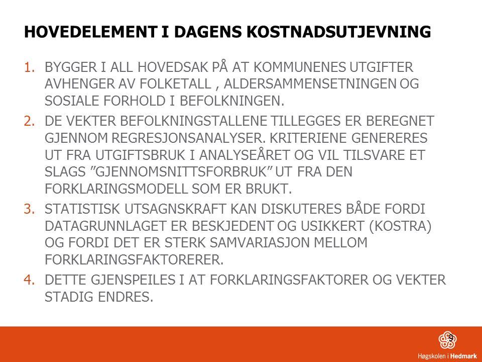 9 HOVEDELEMENT I DAGENS KOSTNADSUTJEVNING 1.BYGGER I ALL HOVEDSAK PÅ AT KOMMUNENES UTGIFTER AVHENGER AV FOLKETALL, ALDERSAMMENSETNINGEN OG SOSIALE FORHOLD I BEFOLKNINGEN.