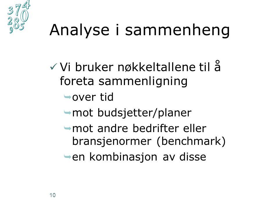 Analyse i sammenheng Vi bruker nøkkeltallene til å foreta sammenligning  over tid  mot budsjetter/planer  mot andre bedrifter eller bransjenormer (