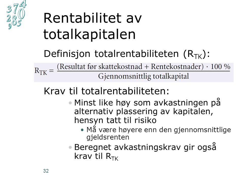 Definisjon totalrentabiliteten (R TK ): Krav til totalrentabiliteten: Minst like høy som avkastningen på alternativ plassering av kapitalen, hensyn tatt til risiko Må være høyere enn den gjennomsnittlige gjeldsrenten Beregnet avkastningskrav gir også krav til R TK Rentabilitet av totalkapitalen 32