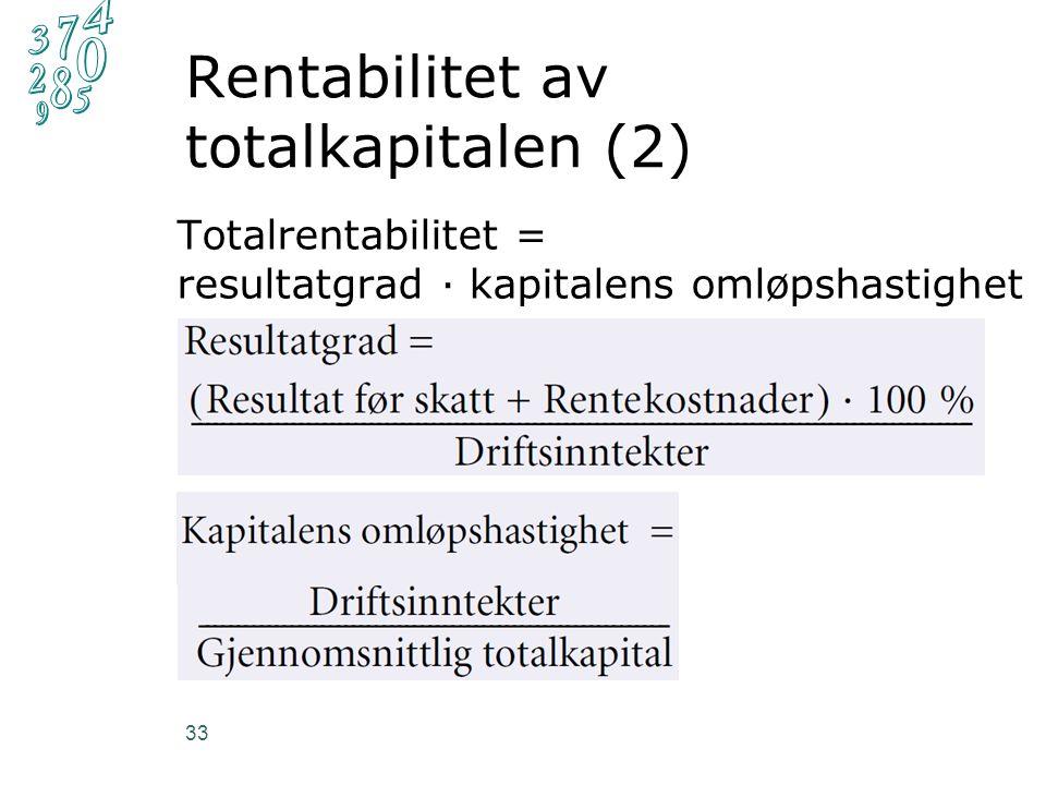 Rentabilitet av totalkapitalen (2) 33 Totalrentabilitet = resultatgrad ∙ kapitalens omløpshastighet
