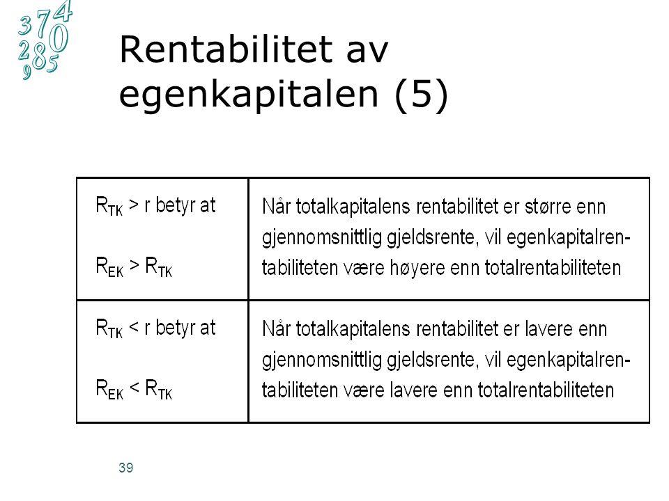 Rentabilitet av egenkapitalen (5) 39