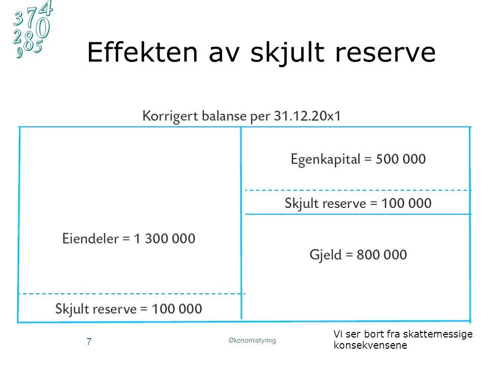 Korrigering av regnskapet (3) I balansen korrigerer vi ved å legge hele den skjulte reserven til verdien eiendelen er ført opp med i regnskapet I resultatregnskapet korrigerer vi for endringen i den skjulte reserven i løpet av perioden 8