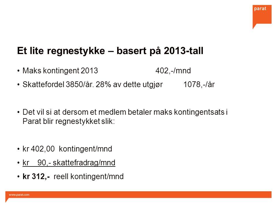 Et lite regnestykke – basert på 2013-tall Maks kontingent 2013402,-/mnd Skattefordel 3850/år.