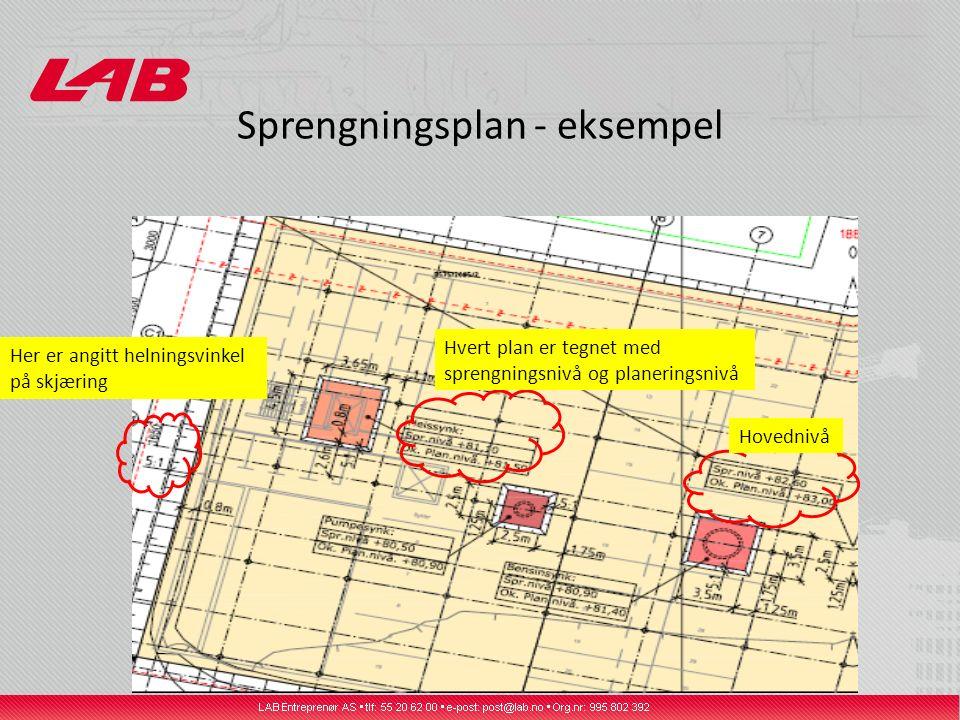 Sprengningsplan - eksempel Hvert plan er tegnet med sprengningsnivå og planeringsnivå Her er angitt helningsvinkel på skjæring Hovednivå