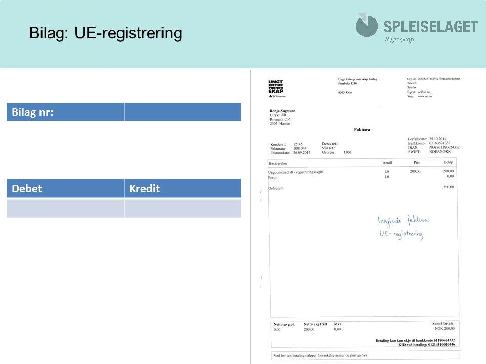 Bilag: UE-registrering DebetKredit Bilag nr: