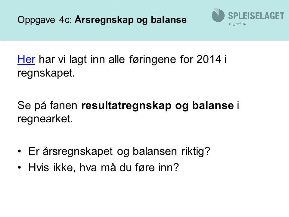Oppgave 4c: Årsregnskap og balanse HerHer har vi lagt inn alle føringene for 2014 i regnskapet.