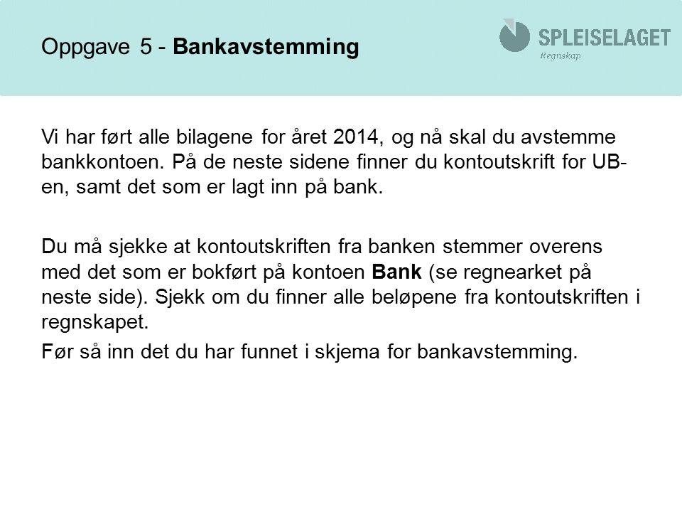 Oppgave 5 - Bankavstemming Vi har ført alle bilagene for året 2014, og nå skal du avstemme bankkontoen.