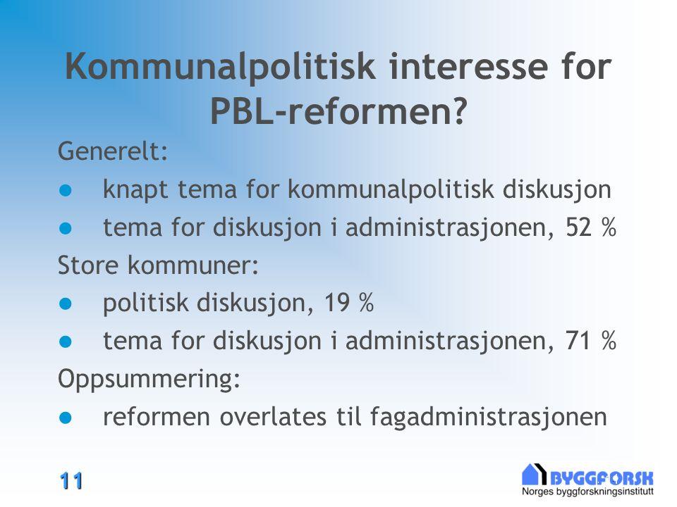 11 11 Kommunalpolitisk interesse for PBL-reformen.