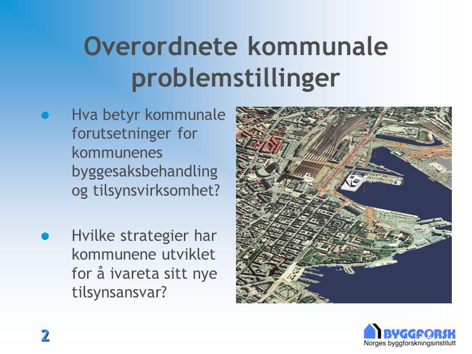 2 2 Overordnete kommunale problemstillinger Hva betyr kommunale forutsetninger for kommunenes byggesaksbehandling og tilsynsvirksomhet.