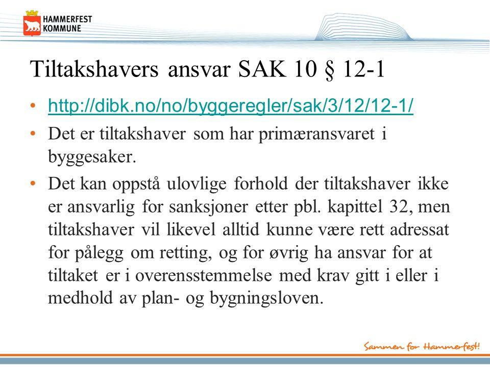 Tiltakshavers ansvar SAK 10 § 12-1 http://dibk.no/no/byggeregler/sak/3/12/12-1/ Det er tiltakshaver som har primæransvaret i byggesaker.