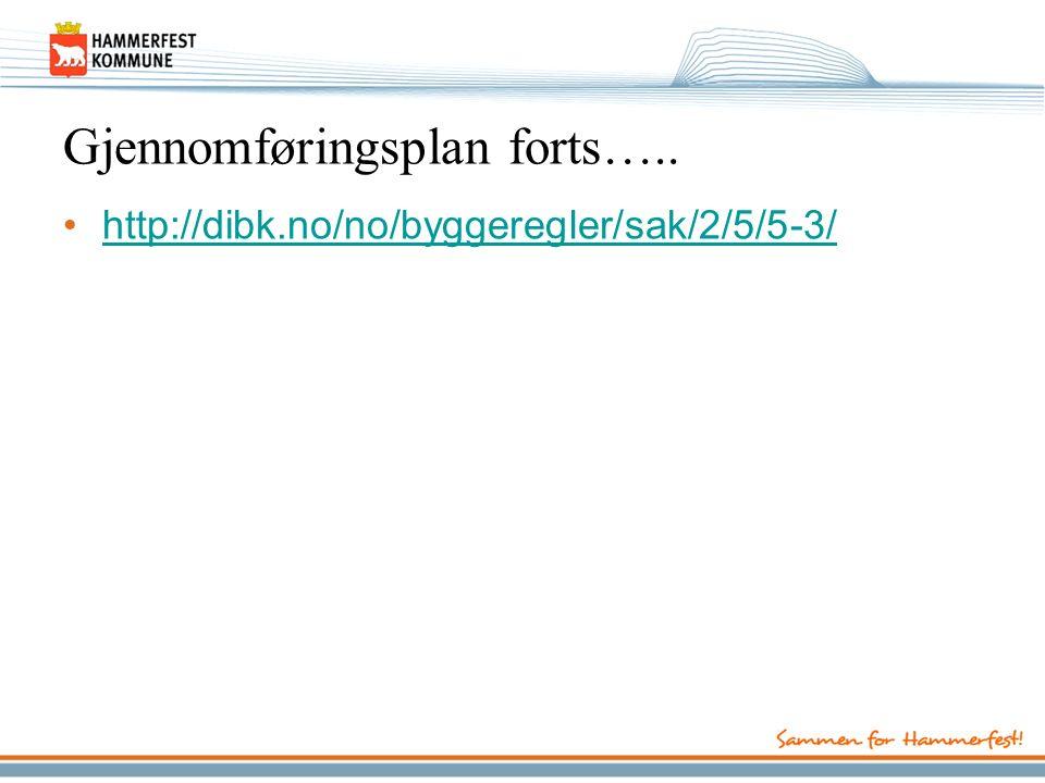 Gjennomføringsplan forts….. http://dibk.no/no/byggeregler/sak/2/5/5-3/