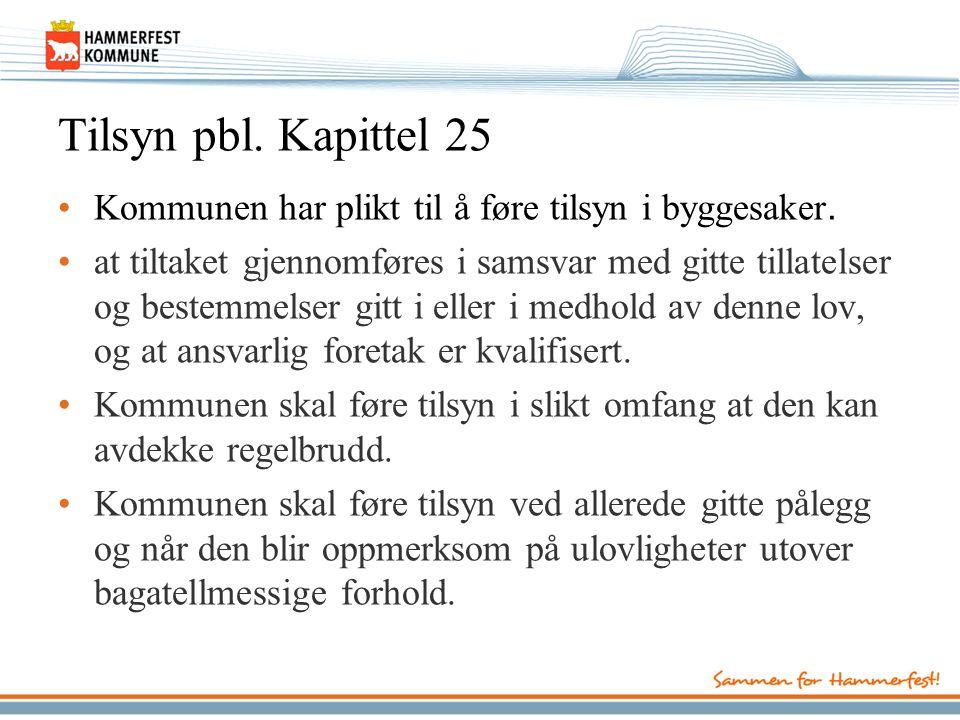 Tilsyn pbl. Kapittel 25 Kommunen har plikt til å føre tilsyn i byggesaker.