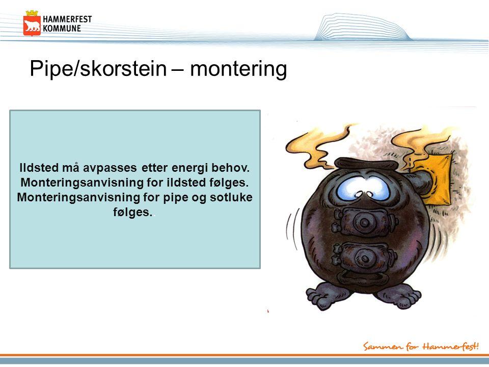 Pipe/skorstein – montering Ildsted må avpasses etter energi behov.