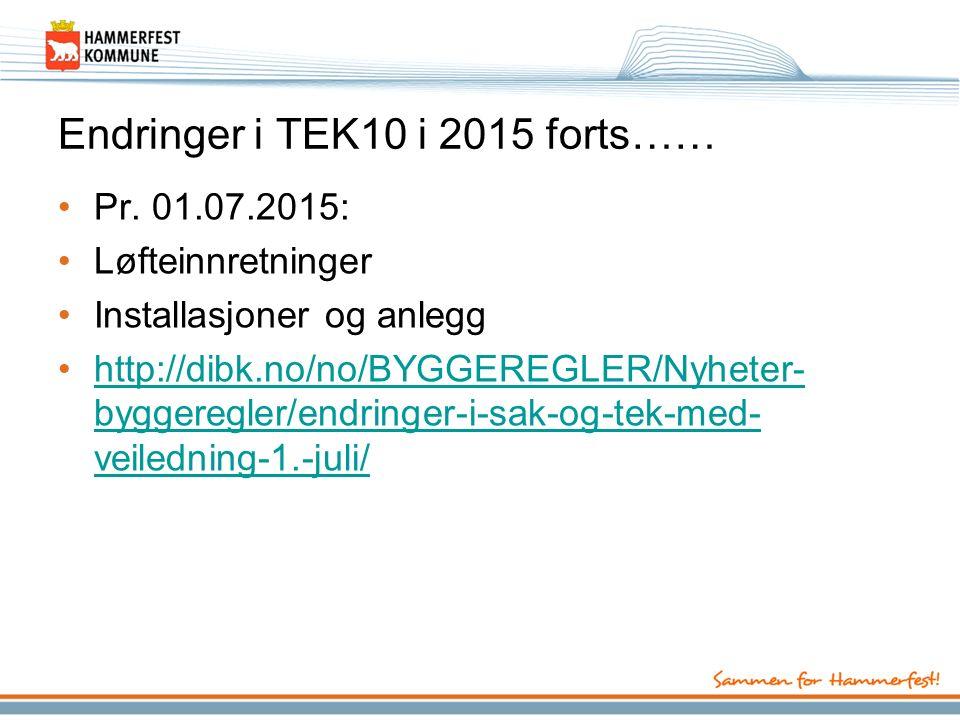 Endringer i TEK10 i 2015 forts…… Pr.