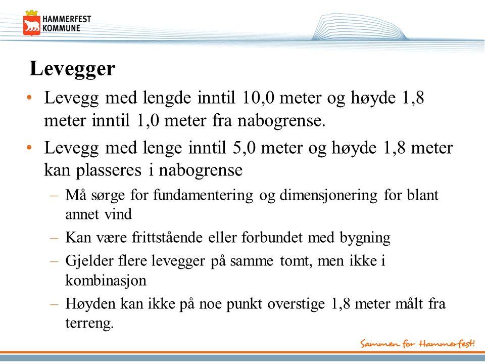 Levegger Levegg med lengde inntil 10,0 meter og høyde 1,8 meter inntil 1,0 meter fra nabogrense.