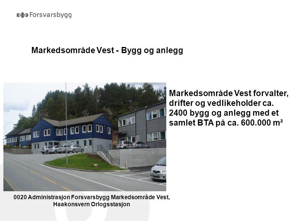 Markedsområde Vest - Bygg og anlegg 0020 Administrasjon Forsvarsbygg Markedsområde Vest, Haakonsvern Orlogsstasjon Markedsområde Vest forvalter, drift