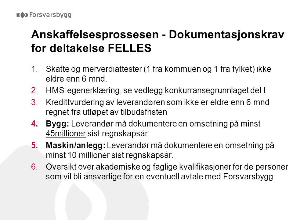 Anskaffelsesprossesen - Dokumentasjonskrav for deltakelse FELLES 1.Skatte og merverdiattester (1 fra kommuen og 1 fra fylket) ikke eldre enn 6 mnd. 2.
