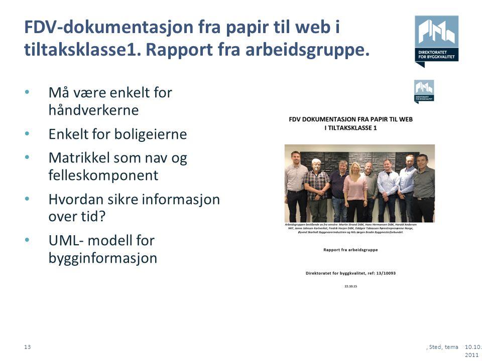FDV-dokumentasjon fra papir til web i tiltaksklasse1.