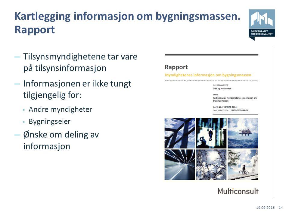 Kartlegging informasjon om bygningsmassen.