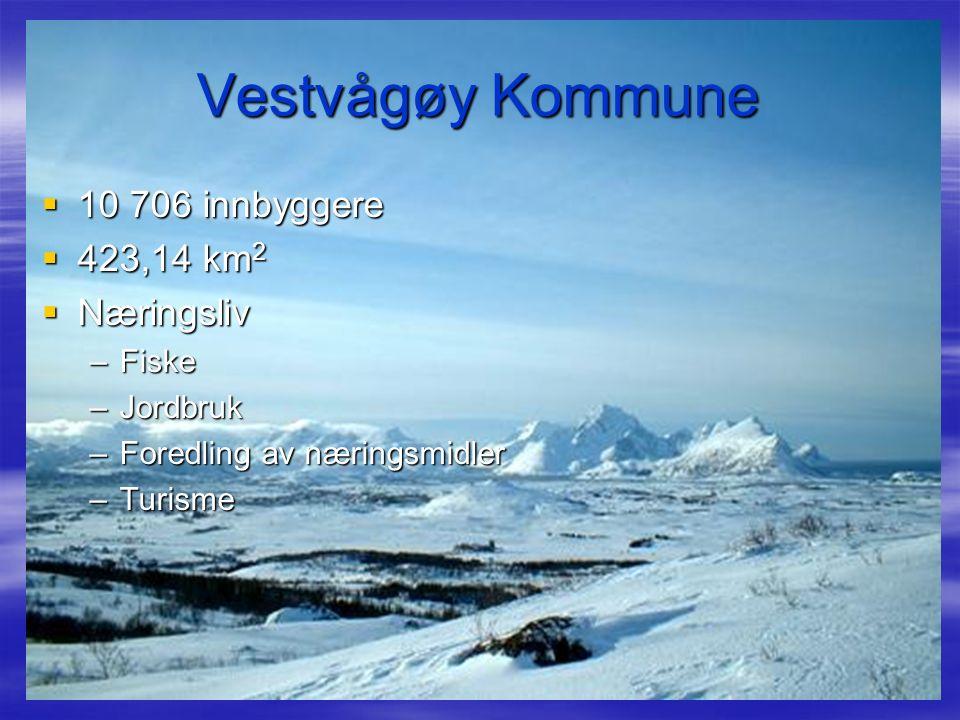 Vestvågøy Kommune  10 706 innbyggere  423,14 km 2  Næringsliv –Fiske –Jordbruk –Foredling av næringsmidler –Turisme